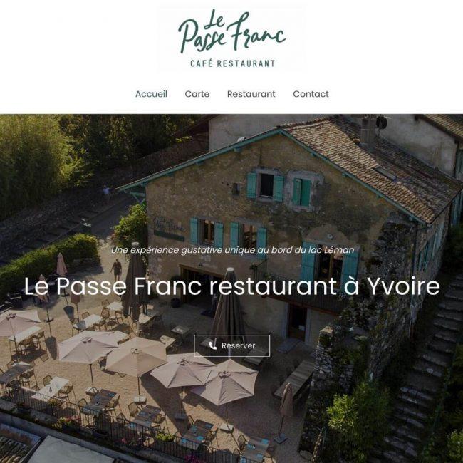 Création de site internet pour le restaurant Le Passe Franc par l'agence de communication Cocliko